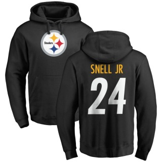 Men's Benny Snell Jr. Pittsburgh Steelers Black Pro Line Any Name & Number Logo Pullover Hoodie